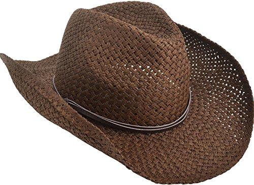 Livingston Men & Women's Woven Straw Cowboy Hat w/Hat Band Décor, PU Band Choco