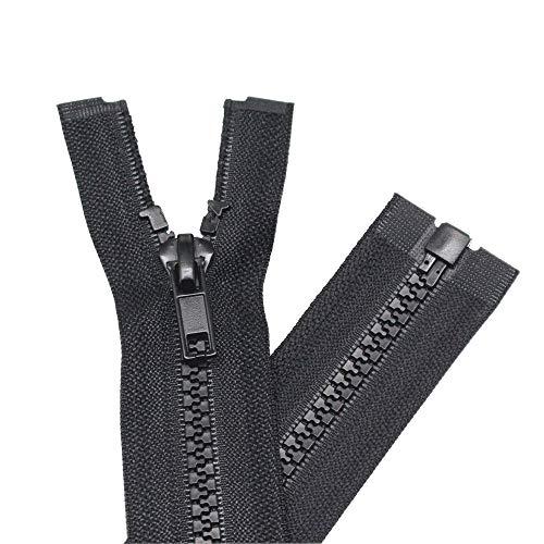 YaHoGa 2PCS #5 24 Inch Separating Jacket Zippers for Sewing Coats Jacket Zipper Black Molded Plastic Zippers Bulk (24