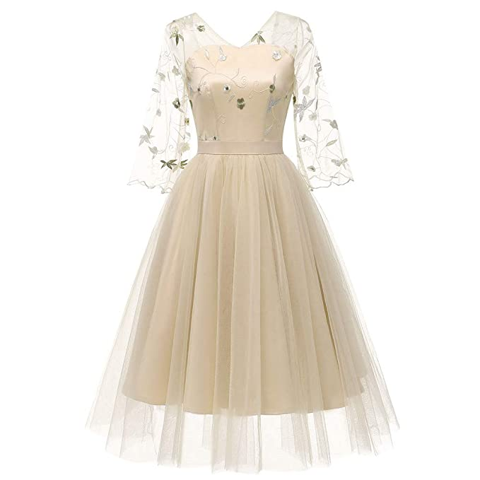 Lenfesh_Vestidos Vestido de Mujer, Otoño Invierno Vestido Corto Mujer Rockabilly Retro Vestido Encaje de Mujer