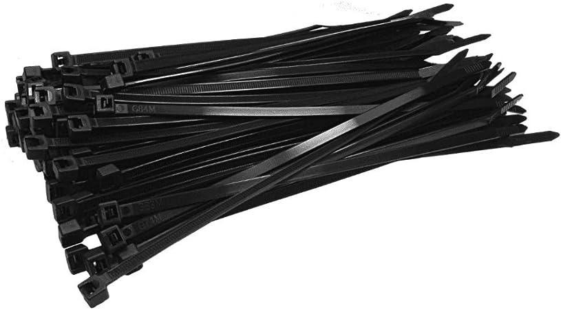 R/ésistants /à la traction de 50 kg Noir R/ésistants aux UV 350 mm x 7,6 mm Caiery Lot de 100 colliers de serrage longs