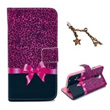Uming Retro Colorful Pattern Print Leather case for Apple Iphone 5S 5G 5 IPhone5 IPhone5S SE IPhoneSE Apple5S Sexy Enticement Pink Leopard Ribbon Bow PU Flip Leather Holster with Stand Stander Holder Hand Free Credit Card Slot Wallet Hasp Magnet Magnetic Button Buckle Shell Protective Mobile Cell Phone Case Cover Bag + 1 x Anti Dust Plug - Pink Leopard