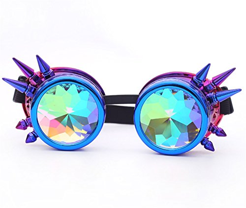 (Kaleidoscope Rave Goggles Rainbow Crystal Lenses Steampunk Glasses)