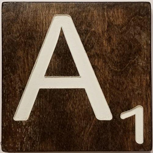 Large Scrabble Letter Tile (5 x 6 Cream, A)