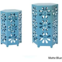 Girra Indoor 12 and 14 Inch Matte Blue Iron Floral Side Tables