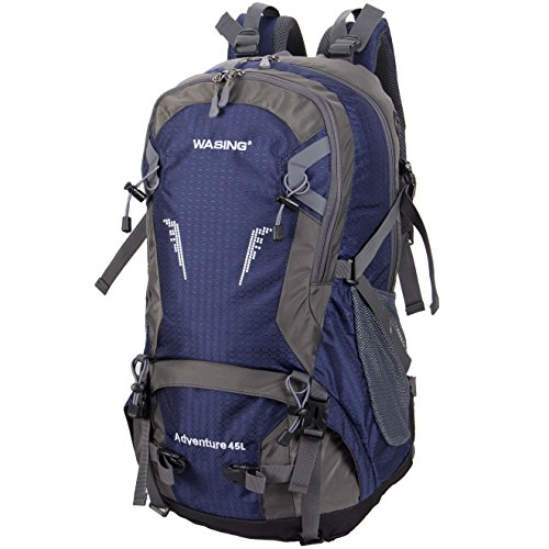 Cheap WASING 45L Internal Frame Backpack Hiking Backpacking Packs for Outdoor Hiking Travel Climbing Camping Mountaineering with Rain Cover WS-45Lpack-darkblue