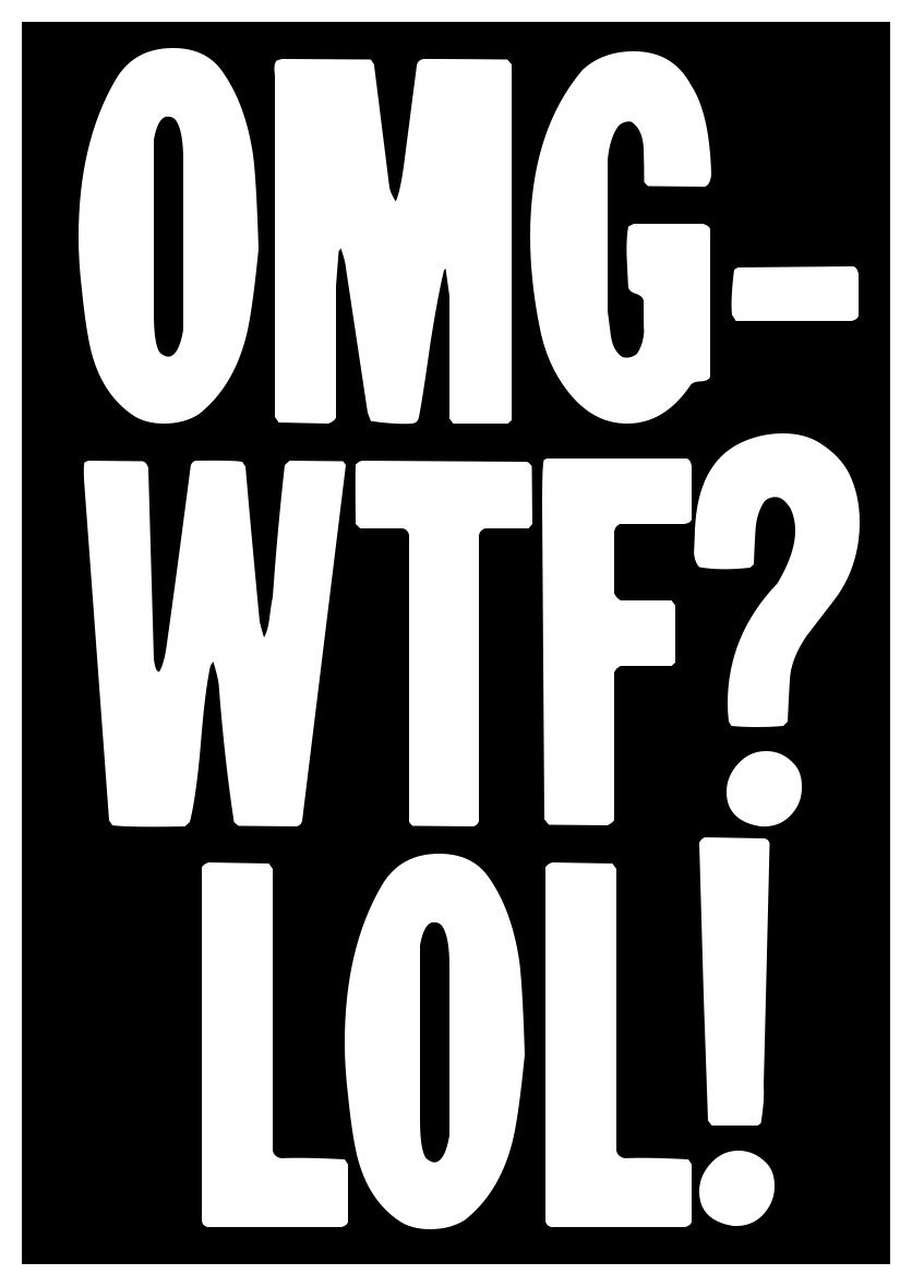 Amazon com new black comedy sticker omg wtf lol cute funny fun gift text speak txt spk joke everything else