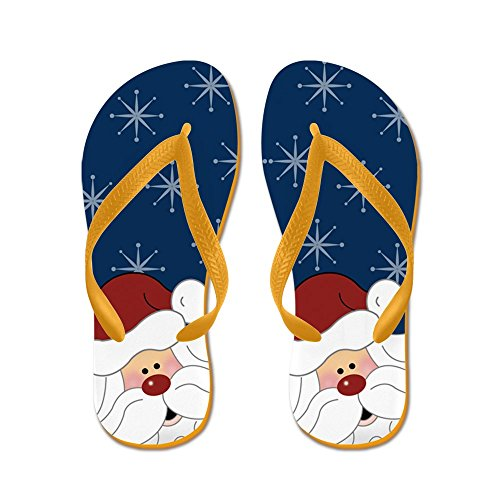 Cafepress Santa Claus Vakantie Kerst Flip Flops (marine) - Flip Flops, Grappige Thong Sandalen, Strand Sandalen Oranje