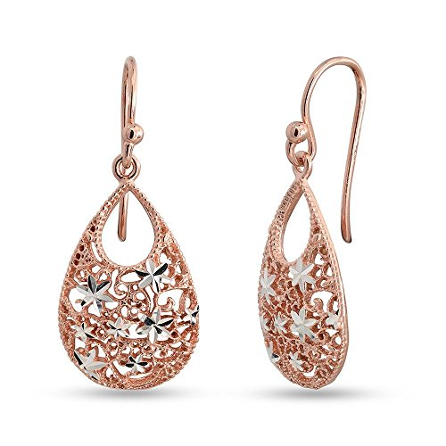 LeCalla Sterling Silver Jewelry Turkish Double Tear Drop Rose Gold Diamond Cut Earrings Stylish Workwear for Women