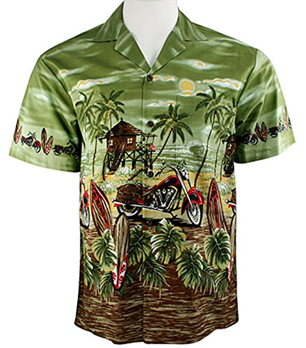 Ky's International Red Motorcycle Fashion Men's Hawaiian Shirt, Green (Motorcycle Hawaiian Shirt)