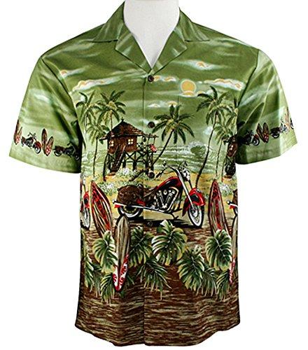 Ky's International Red Motorcycle Fashion Men's Hawaiian Shirt, Green (Shirt Hawaiian Motorcycle)