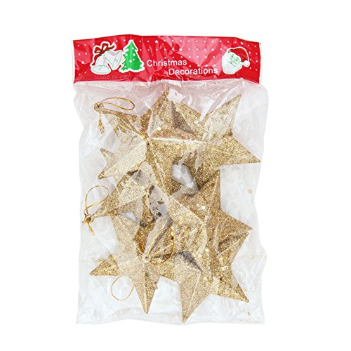 Evelin LEE 6pcs Christmas Tree Hanging Gold Glitter Star Decorations Ornaments (Gold)