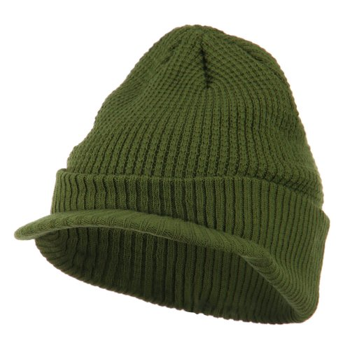 City Hunter Grid Pattern Cuff Beanie with Visor - Olive OSFM ()