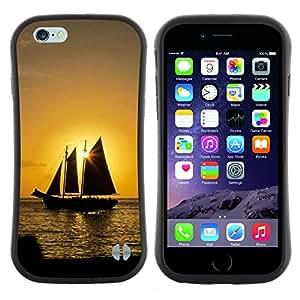 "Hypernova Slim Fit Dual Barniz Protector Caso Case Funda Para Apple (5.5 inches!!!) iPhone 6 Plus / 6S Plus ( 5.5 ) [Puesta del sol del barco Beautiful Nature 10""]"
