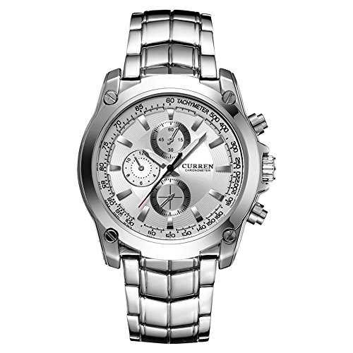 CURREN Original Men's Sports Waterproof Stainless steel Watch Good Quality 8025 Silver White