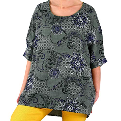 QIQIU Fashion Womens Autumn Summer Floral Print Half Sleeve Loose Casual Plus Size O Neck T Shirts Tops Blouses