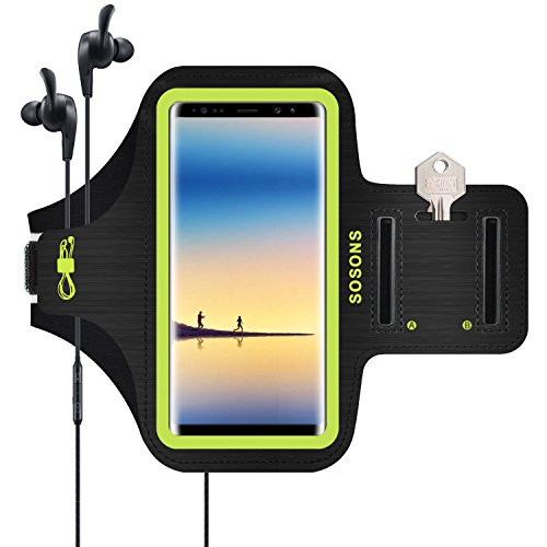 SOSONS Galaxy Note 9/Note 8/S8 Plus Armband, Water Resistant Sports Gym Armband Case for Samsung Galaxy Note 9/Note 8/S8 Plus,with Card Pockets and Key Slot,Fits Smartphones with Slim Case -Yellow
