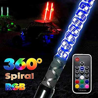 GTP 3ft Spiral LED Whip Lights 360° Twisted 20 Color RGB - 21 Modes Lighted Whips Antenna W/Flag for UTV ATV Polaris RZR Quad Off Road Jeep Can-am Maverick Yamaha Sand Dune Buggy 4X4: Automotive