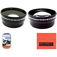 52mm 2X Telephoto Lens + 52mm 0.43x Wide Angle Lens with marco for Canon Digital EOS Rebel SL1, T1i, T2i, T3, T3i, T4i, T5, T5i EOS60D, EOS70D, 50D, 40D, 30D, EOS 5D, EOS5D Mark III, EOS6D, EOS7D, EOS7D Mark II, EOS-M Digital SLR Cameras Which Has Any Of These Canon Lenses 50mm f/1.8 II, 135mm f/2.8, EF 50mm f/2.5, EF-S 60mm f/2.8, EF-S 24mm f/2.8 STM