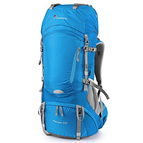 (Mountaintop 65L Internal Frame Backpack Hiking Backpack with Rain Cover-5822III (Aquablue))