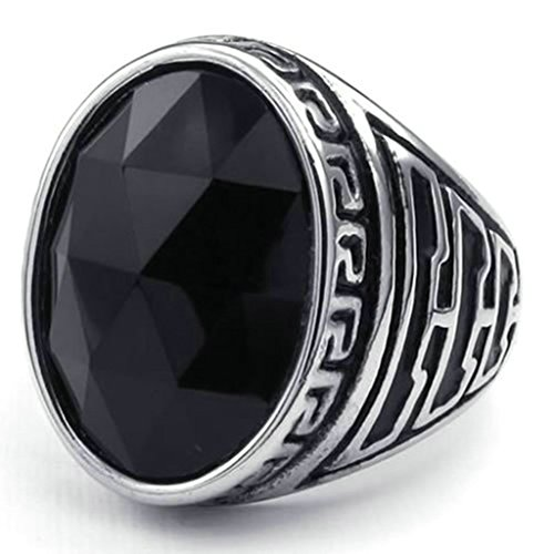 Stainless Steel Ring for Men, Palindrome Oval Ring Gothic Black Band 21MM Size 8 - Sale Outlet Bass