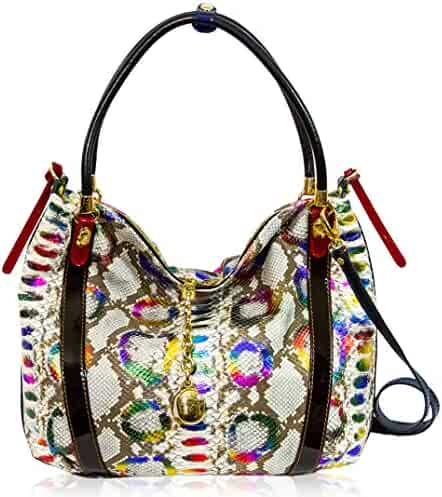 109b7c20c9 Marino Orlandi Italian Designer Rainbow Python Leather Oversized Purse  Crossbody Bag
