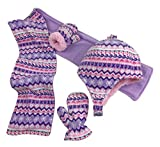 N'Ice Caps Girls and Baby Fair Isle Print Fleece Hat/Scarf/Mitten Set (Light Purple Fair Isle, 2-3 Years)