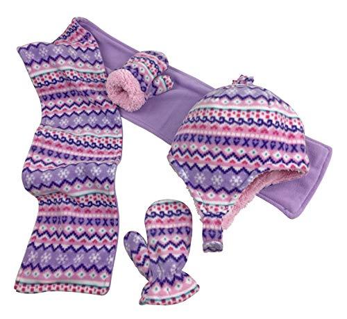 N'Ice Caps Girls and Baby Fair Isle Print Fleece Hat/Scarf/Mitten Set (Light Purple Fair Isle - Glove, 4-7 (Light Fleece Lining)