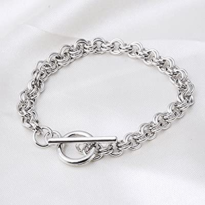 RUBYCA Toggle Clasp Silver Charm Rolo Bracelets Double Long Link Chain