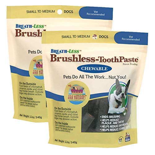 Toothpaste Chewable Brushless (ARK NATURALS Brushless Toothpaste, Dental Chews for Dogs, Plaque, Tartar, and Bacteria Control, Freshen Breath, Chewable, Natural Ingredients (2 Pack))