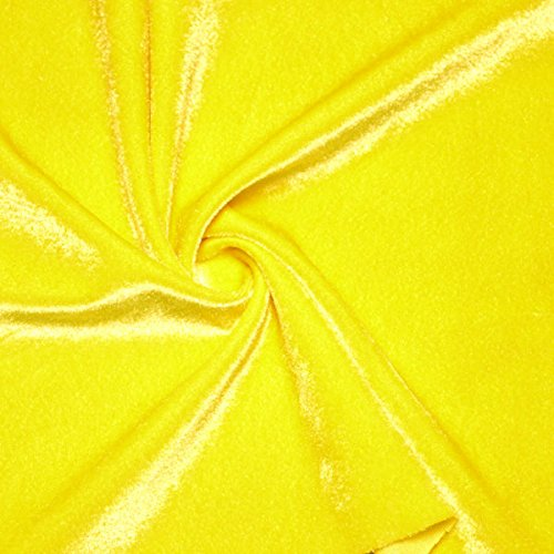 Yellow Stretch Velvet Fabric Sold By the Yard (Yellow) ()