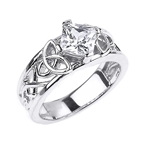 Solid 14k White Gold Celtic Knot Princess Cut CZ Engagement Ring(Size 7)