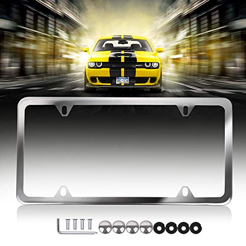 Aluminum Tag Holders 2 Holes kit,2pcs Car Licenses Plate Covers Holders,Protect Front Back License Plates US Vehicles 122447-5231-1102029031 ROADFAR License Plate Frame Chrome Screw Caps