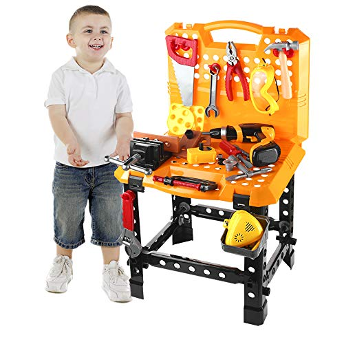 120 Pieces Toy Power Workbench, Kids Power Tool Bench Construction Set with Tools and Electric Drill, Toddlers Toy Shop Tools for -