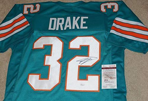 (Kenyan Drake #32 Autographed Signed Memorabilia Miami Dolphins Throwback Jersey JSA COA Wp767896)