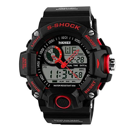 TONSHEN Men's Military Digital Sport Electronic Watch Outdoor Multifunction Waterproof Analog Display LED Back Light 164FT 50M Water Resistant Alarm Stopwatch - Red (Red Line Dual Timer Watch)
