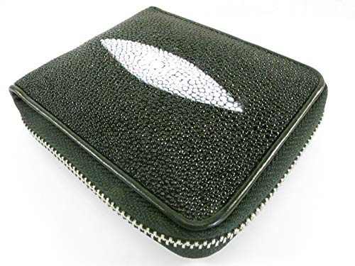 PELGIO Genuine Stingray Skin Black Leather Bifold Zip Around Closure Wallet Soft