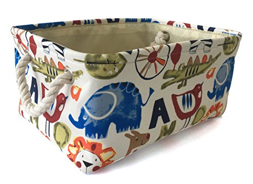 LEELI Rectangular Canvas Storage Basket Collapse Fabric Cartoon Storage Cube Bin Handles Organizing Kids Toy/Playroom Organization/Toy Bin/Closet /Shelf Baskets/Baby ()