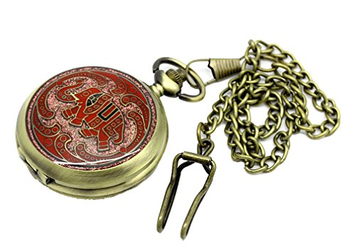 Godagoda Antique Bronze Color Round Pocket Watch Red Enamel Elephant Engraved