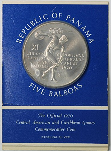 1970 PA Panama The Official Central American and Caribbean Games 5 Balboas Commemorative Coin 5b BU