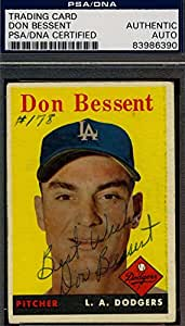 DON BESSENT 1958 TOPPS HAND SIGNED PSA/DNA ORIGINAL AUTHENTIC AUTOGRAPH