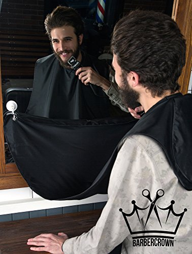 BARBERCROWN - The Barber Shop/Salon Grade Beard and Hair Catcher Kit - Professional black Shaving, Grooming & Trimming Bib/Apron/Cape - Suction Cups for Mirrors - Best Tool for Men to Cut a Mustache - Need Doctor Who Costume Ideas