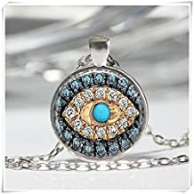 Good Luck Talisman Art Pendant Jeweled Evil Eye Necklace