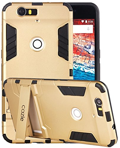Nexus 6P,iRonman Dual-layer Heavy Duty Matte Rugged Protective Cover Case with Built in Foldable Kickstand for Google Huawei Nexus 6P by Cazle (Gold)