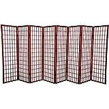 Oriental Furniture 5 ft. Tall Window Pane Shoji Screen - Rosewood - 8 Panels