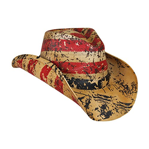American Tea Stained Cowboy Hat, Vintage Straw USA Cowboy Hat with Stars & Stripes Distressed Straw Cowboy Hat