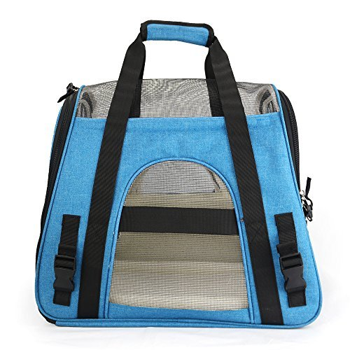 Airline Approved Soft-Sided Pet Carrier Lovespot Dog Travel Bags with Fleece Pet Beds Mats Safety Lock for Dogs Cats Large Blue