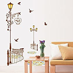 ufengke home Lamp Post Silhouette Brown Wall Stickers Street Light with Butterflies & Clock Made in Modern Minimalist Art Style Decorative Removable DIY Vinyl Decals Living Room, Bedroom Mural