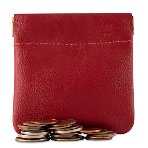 Classic Leather Squeeze Coin Purse change Holder For Men, Pouch size 3.5 in X 3.25 in. high By Nabob (Red)