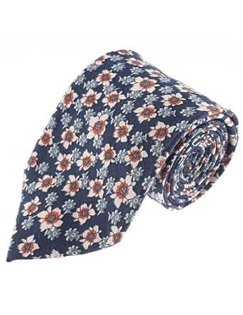 FLATSEVEN Corbatas Estampado De Flores De Algodon Homme (YA012) AzulMarino