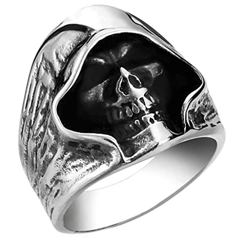 [Aooaz 316L Stainless Steel Mens Ring Bands Skull Silver Size 10 Punk Gothic Vintage Novelty Ring] (Tarnished Costume Jewelry Cleaner)